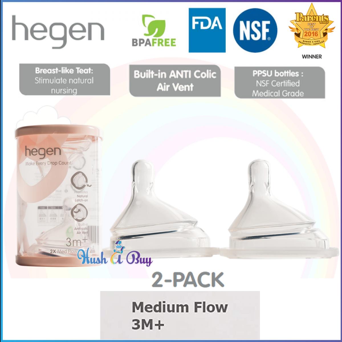 Hegen Teat /Nipple / Puting (2 pack)- Slow Flow/ Fast Flow/ Medium Flow/ Thick Feed