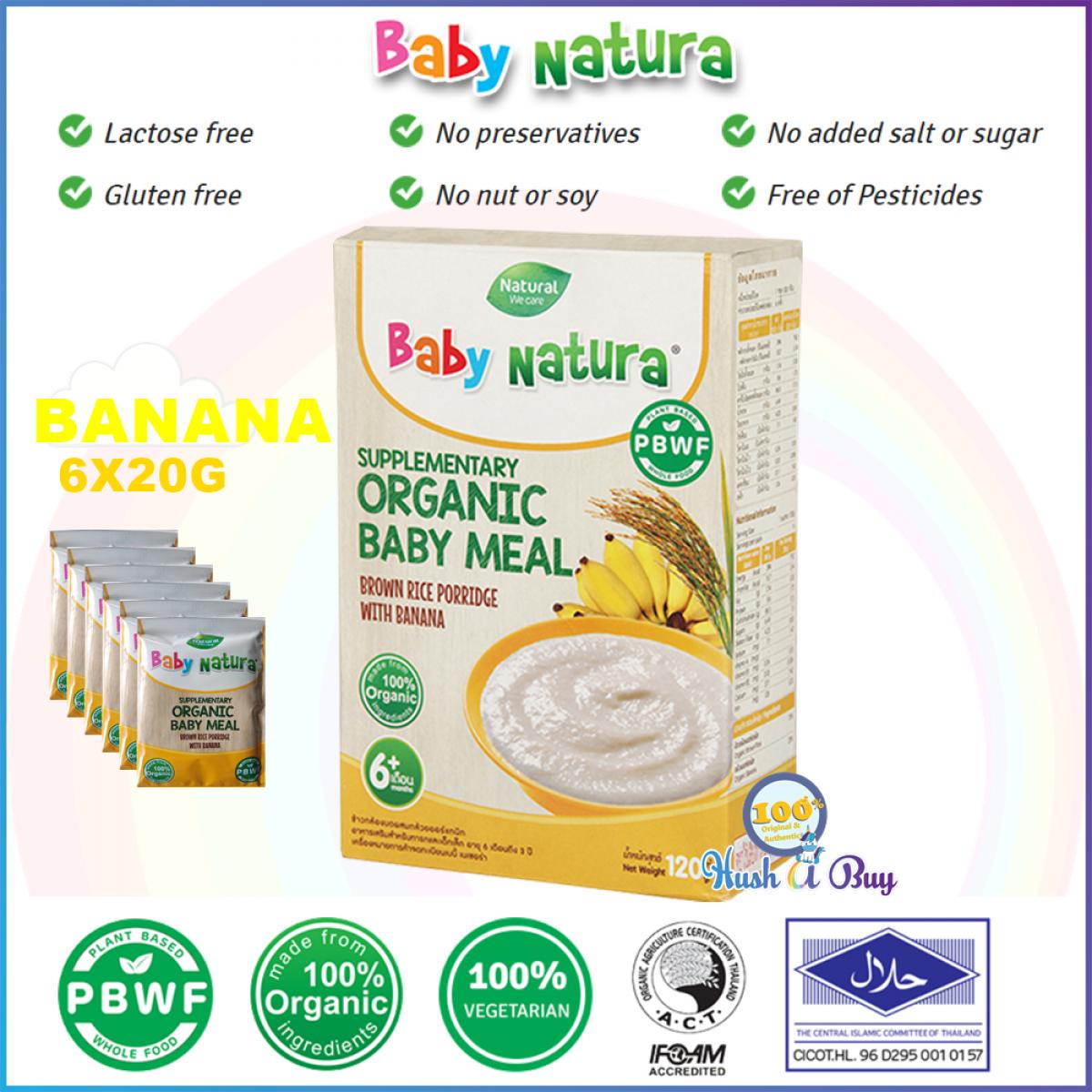 Baby Natura Organic Brown Rice Porridge Regular, Banana, Pumpkin, Carrot - 6 Sachet - Best for Travel - Halal