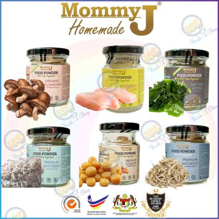 MommyJ Food Powder Starter Pack 20g - Anchovy Whitebait Mushroom Chicken Kumbu Kelp Scallop