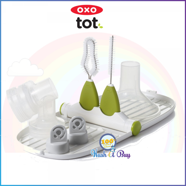 OXO TOT On The Go Breastmpump Parts Drying Racks with Detail Brush