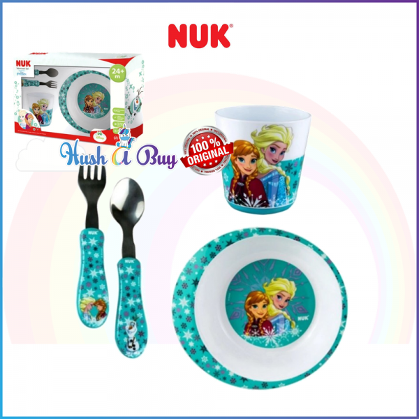 NUK Tableware Set Frozen (Consist of Multipurpose Bowl, Cup and Cutlery Set) 24+Month - Frozen